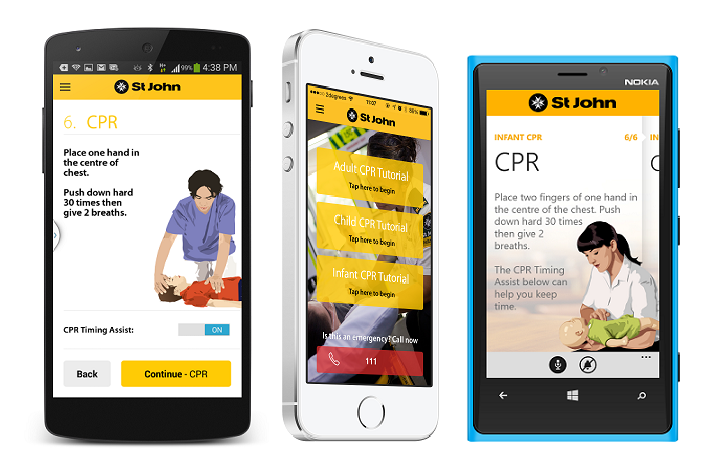 Screenshots of the Android, iOS 7 and Windows Phone 8 versions of the CPR app.