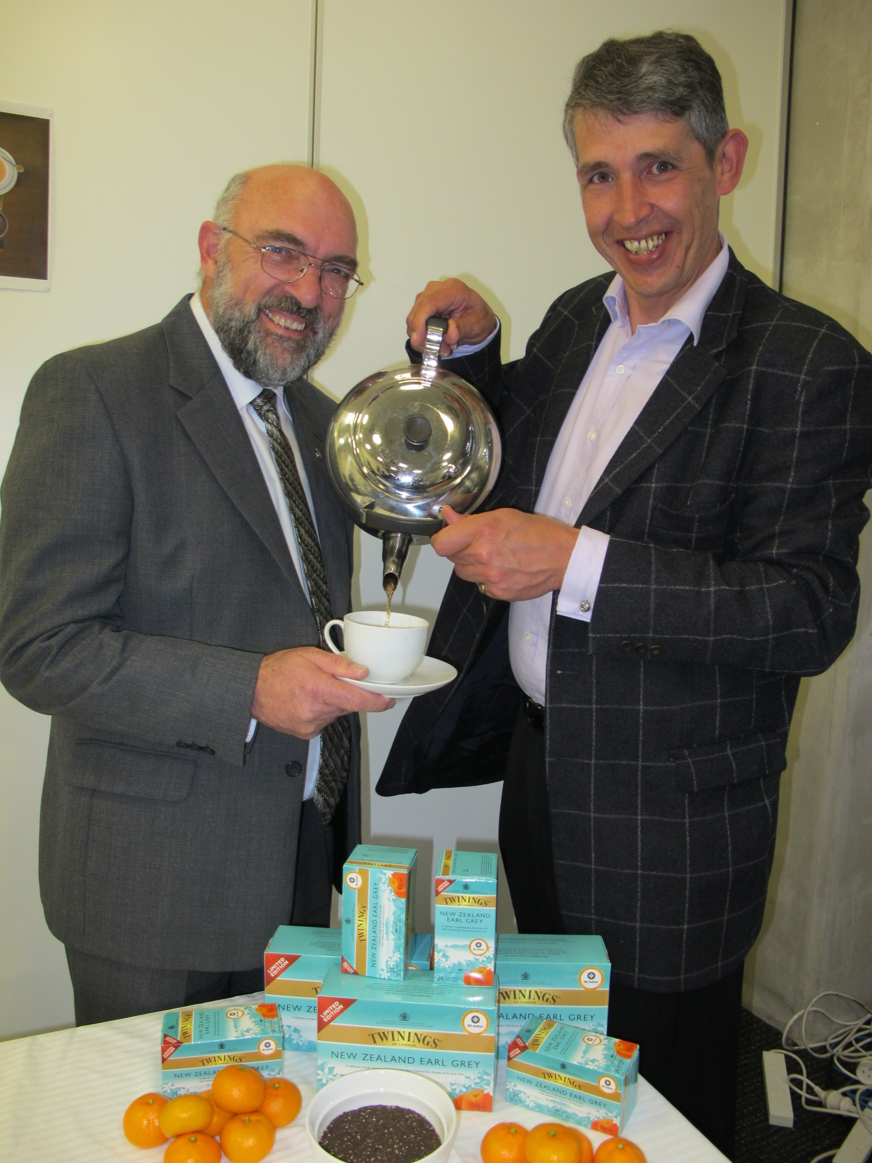 St John Fundraising Manager Jim Datson shares a cup of tea with Stephen Twining of Twinings tea company.